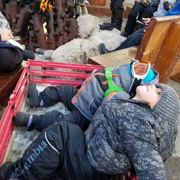 הדובונים הקטנים והמתוקים האלה יושבים להם בעגלת ציוד סקי, מתחממים ליד האש, מסתכלים לשמים ונהנים מהחוויה. כמה כיף!